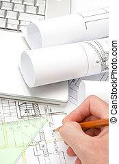 arquiteta, com, desenhos técnicos