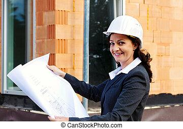 arquiteta, com, plano, ligado, local construção
