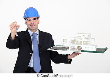 arquiteta, com, teclas, para, um, construção nova