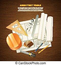 arquiteta, construção, ferramentas, fundo