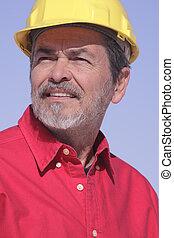 arquiteta, contratante, com, chapéu duro