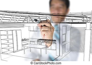 arquiteta, desenho, cozinha lar