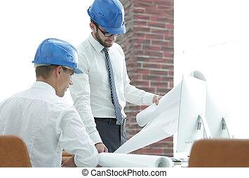 arquiteta, e, construção, capataz, para, discuta, um, novo, projeto