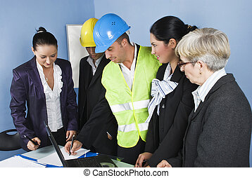 arquiteta, equipe, em, escritório