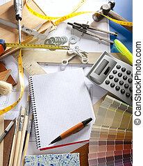 arquiteta, escrivaninha, desenhista, local trabalho, caderno...