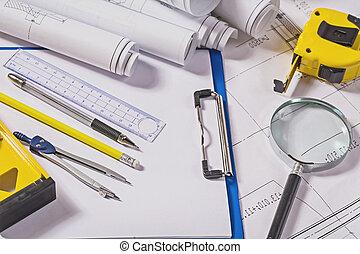 arquiteta, ferramentas, ligado, desenhos técnicos