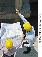 arquiteta, ligado, local construção