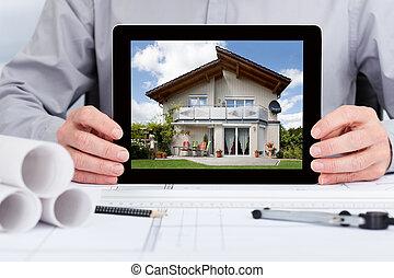 arquiteta, mostrando, quadro, de, casa