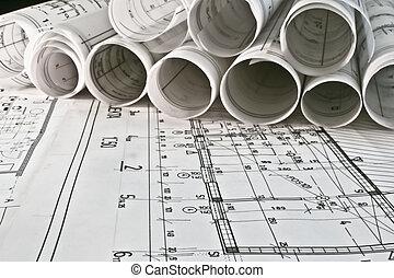 arquiteta, rolos, e, planos
