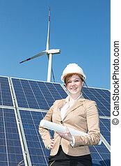 arquiteta, solar, posar, painéis, ou, engenheiro