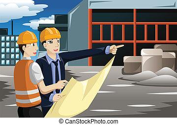 arquiteta, trabalhar, a, local construção