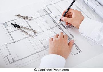 arquiteta, trabalhar, desenhos técnicos