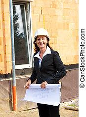 arquitetos, com, blueprint, em, local construção