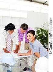arquitetos, grupo, plano, construção, discutir