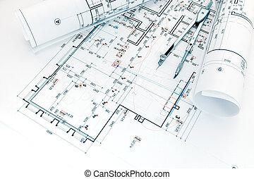 arquitetos, local trabalho, com, projeto, planos, e, bússola puxando
