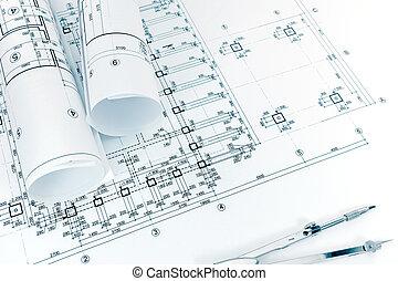 arquitetos, workspace, com, projeto, planos, rolado, desenhos técnicos, e, bússola puxando