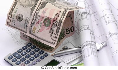 arquitetura, blueprint, calculadora, plano, projeto,...