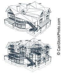 arquitetura, blueprint, de, um, house., vetorial