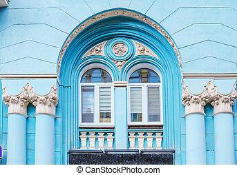 arquitetura, de, a, histórico, edifício., fachada, com, pilares, e, arco