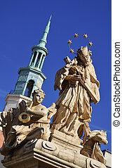 arquitetura, de, antigas, mercado, em, poznan, polônia