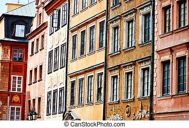 arquitetura, de, cidade velha, em, varsóvia, polônia