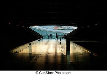 arquitetura, de, modernos, treine estação