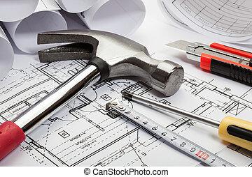 arquitetura, desenhos técnicos, foco seletivo