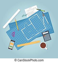 arquitetura, desenhos técnicos