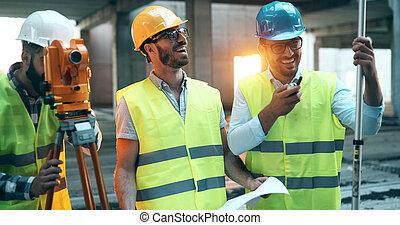 arquitetura, engenharia, trabalho equipe, reunião, em, local trabalho