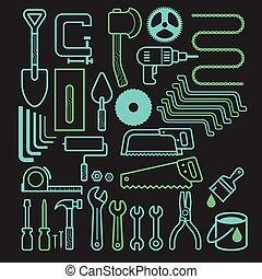 arquitetura, ferramenta, ícones