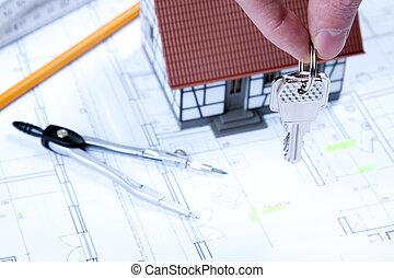 arquitetura, ferramentas, ligado, desenhos técnicos