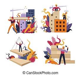arquitetura, isolado, engenharia, trabalho, construção, predios, ícones