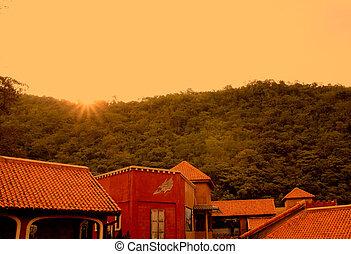 arquitetura, italiano, estilo, em, pôr do sol, montanha, fundo