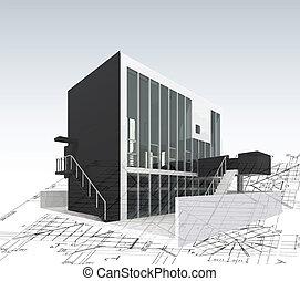 arquitetura, modelo, casa, com, plano, e, blueprints., vetorial