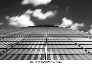 arquitetura moderna, abstratos, com, nuvens, movimento, borrão