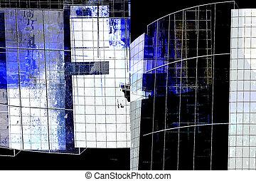 arquitetura moderna, -, abstratos, composição
