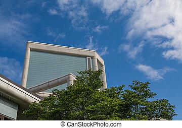 arquitetura moderna, além, árvores