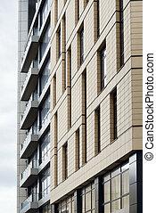 arquitetura moderna, fachada, com, sacadas, e, janelas