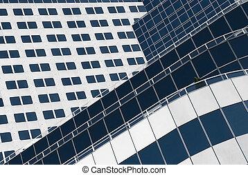 arquitetura moderna, fragment., fachada, de, um, contemporâneo, edifício.