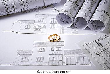 arquitetura, planos, com, anéis casamento