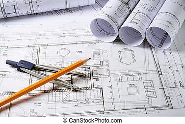 arquitetura, planos, com, compasso