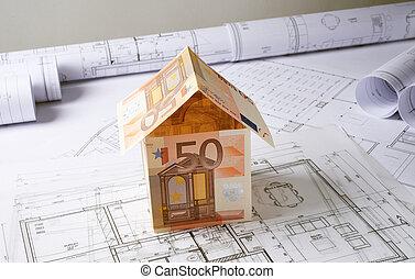 arquitetura, planos, com, dinheiro, casa