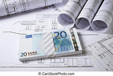 arquitetura, planos, com, dinheiro