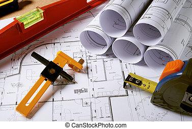 arquitetura, planos, com, lápis