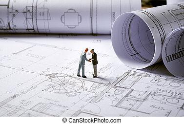 arquitetura, planos, com, personagem