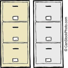 arquivamento, ilustração, gabinete