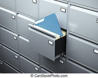 arquive gabinete, com, azul, documento