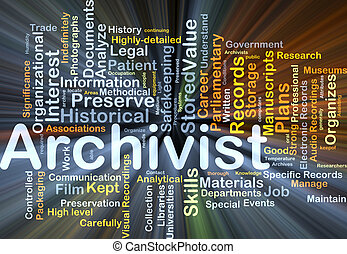 arquivista, fundo, conceito, glowing
