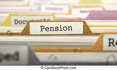 arquivo, conceito, pensão, label.