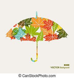 arquivo, guarda-chuva, transparência, estação, folhas, forma, outono, experiência., editing., fácil, eps10, transparente